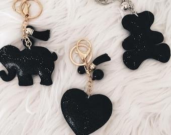 Elephant/ Heart/ Bear Keychains  (Black)