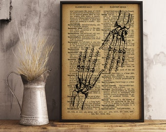 Orthopedic surgeon gift Medical Poster Dictionary art print Gift for a medical student Anatomy Skeleton Hands Orthopedic Wall Art  (HA04)