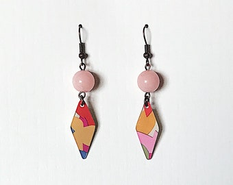 Upcycled Gift Card Earrings - Multicolored with Rose Quartz