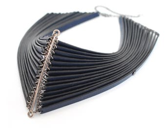 Warrior leather and silver necklace, dark bold tribal sculptural neck piece