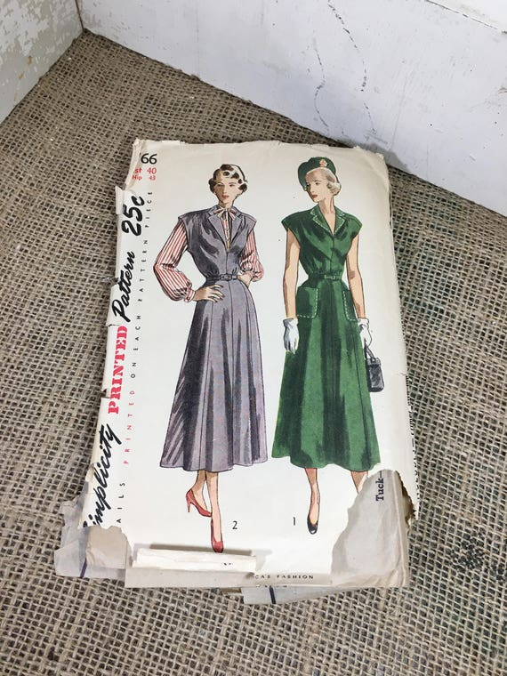 Vintage from the 1940's Simplicity pattern 2766, classy women's one piece dress, jumper, blouse, 1940's sewing pattern, vintage Simplicity