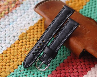 Black Leather 18mm Watch Strap Black Leather 20mm Watch Strap Black Leather 22mm Watch Strap Black Leather 24mm Watch Strap Watch Strap 26mm
