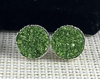 St. Patrick's Day Earrings - Green Druzy Earrings - Drusy - Jewelry - Irish Earrings - St Patricks Day Accessories - Irish Jewelry - Druzy