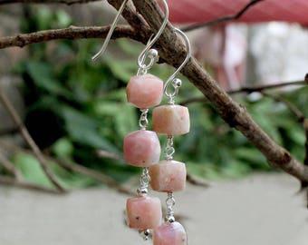 925 Sterling Silver Pink Ople drop Earring LHE037 Ople Earring Natural Pink Ople Earring