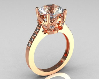 French Bridal 14K Pink Gold 3.0 Carat White Sapphire Solitaire Wedding Ring R301-14PGDWSS