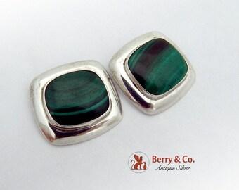 SaLe! sALe! Modern Malachite Earrings Sterling Silver 1960