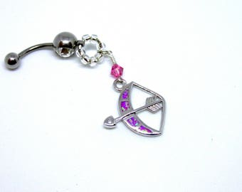 Bow and Arrow Bellybutton Ring, Navel Piercing, Pink Navel Ring, Pink Bellybutton Piercing, 14G Barbell, Bellybutton Piercing, Navel Ring