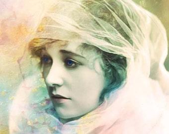 30 % 0ff SALE   Giclee Archival Print, Photomontage, Collage, Painted Photographs, Woman Portrait, Portrait, Vintage Art