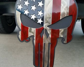 American Flag, Punisher Trailer Hitch Cover, Hitch Plug, Hitch Cover Personalized, Truck Accessories, Hunting, Truck Driver, Truck Emblem