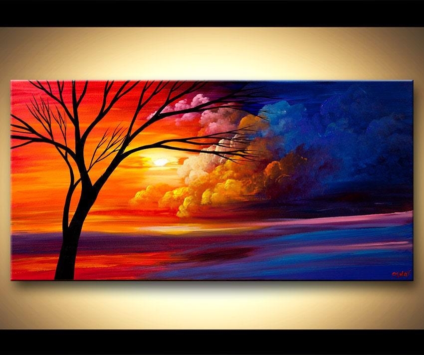 Peinture acrylique paysage peinture coloré coucher de soleil