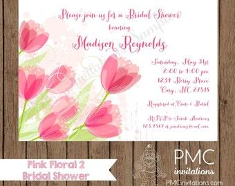 Custom Printed Pink Floral Bridal Shower Invitation - 1.00 each with envelope