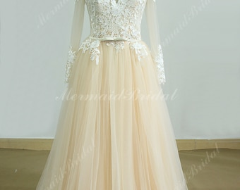 Romantic champagne a line lace wedding dress with removable train and long sleeves