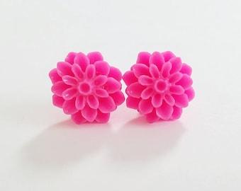 Chrysanthemum Beautiful Bloom Flower Earrings Hot Pink