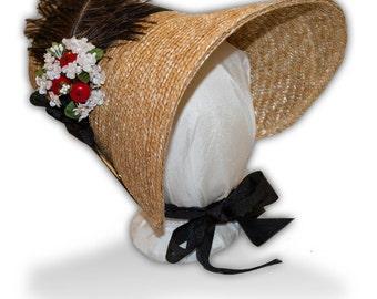 Austentation Jane Austen Regency 1812 Poke Bonnet: Black and White Eliza with Berries