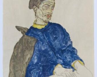 "Schiele Egon ""45"" Lithograph, ""Russian prisoner of war"" Printed 1968"