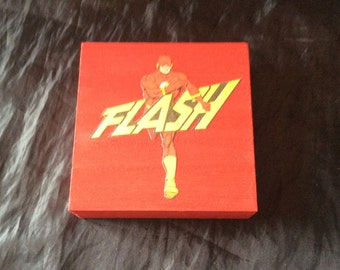 The Flash Hand decorated wooden box trinket
