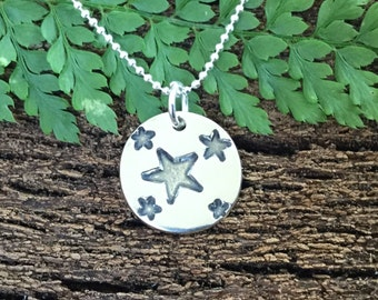 Silver stars necklace, solid silver, pretty pendant, stars necklace, gifts for her, teenage girl gift, Christmas gift.