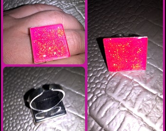 Resin square Adjustable ring jewelry