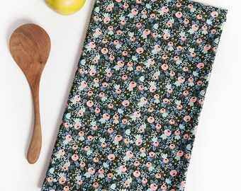 Flower Tea Towel,  Tea Towel, Cotton Tea Towel, Black, Flowers, Hostess Gift, Kitchen Gift, Homebody, Floral Towel, Home Decor, Home Gift