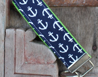 READY TO SHIP-Beautiful Key Fob/Keychain/Wristlet-White Anchors on Lime
