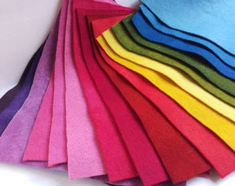All-Naturally Dyed 100% wool felt sheets/ yardage, over 30 shades, felted wool fabric