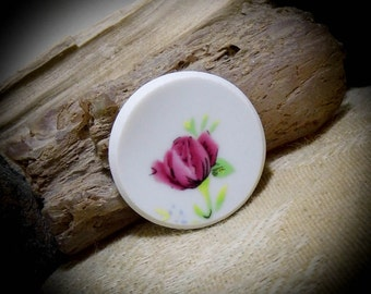 Broken China Roses Free Form Round Hand Cut Cabochon 31 mm