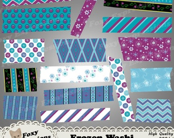 Frozen Digital Washi Tape comes in Anna and Elsa dress patterns, snowflakes, stripes, and polka dots in shades of blue, purple white & black