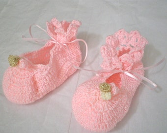 """Soft Crocheted Ballerina Booties, in pink, fits 12-15m,  4.5"""" L sole"""