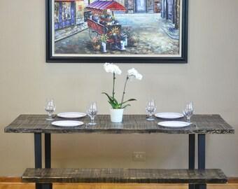 Modern Industrial Reclaimed Barn Wood Dining Table - Fabricated Flat Black Steel Legs- Scorched W/ Enduorv