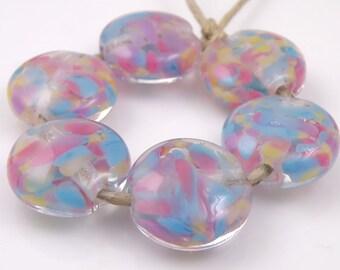 Chintz SRA Lampwork Handmade Artisan Glass Lentil Beads 18mm Made to Order Set of 6