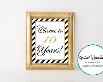 Seventy Glittered Black and Gold-A 032 Cheers to 70 years Party Sign, Seventy Wall Art, Party Decoration, 70th Birthday, Seventy