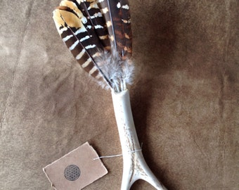 CLEARANCE PRICE Deer Antler & Feather Smudging Fan
