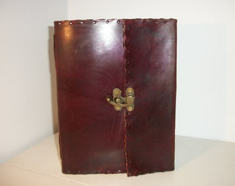 LEATHER BOUND Book of Shadows /JOURNAL/Scrapbook/Recipe Book, 100% Real Leather, Recycled Handmade Paper, Fair Trade