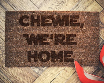Star Wars Inspired Welcome Doormat coconut chewie we're home