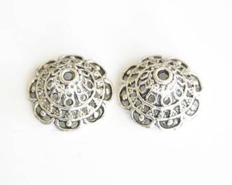 Bead caps in antique silver (set of 2)