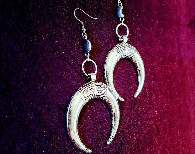 Crescent Moon Earrings - goth gothic elegant oocult jewellery