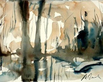 New England Winter-Scape No.34, original watercolor