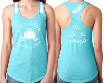 Cinderella Running Tank - White Vinyl Shirt Detail - Pumpkin Carriage, Race Distance in Slipper, Run Like It's Midnight