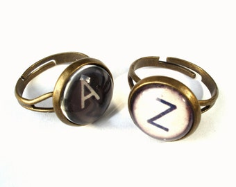 Typewriter Ring - Vintage Style Typewriter Key Ring Black or White typewriter key Ring