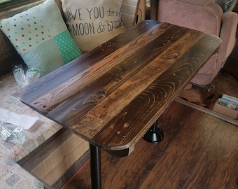 Custom Hand Made RV Pedestal Dining Table. Reclaimed, Distressed Wood. Farm Table Appearance.
