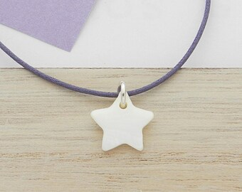 Star child necklace white mother of Pearl on silver