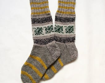 Men's Wool Socks, Made To Order, Fair Isle, Hand Knitted, Fathers Day, Gift for Boyfriend, Brother Birthday Present, Hiking, Hunting