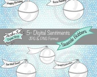 We Are 3 Digital Shop - Seaside Bobbers Sentiments,  Transparent Digital Image