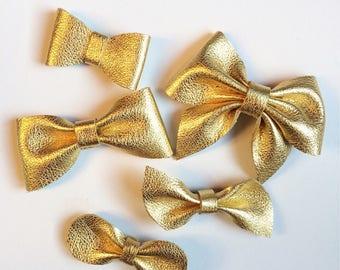 Gold Leather Hair Bow Clip, metallic, barrette, baby clip, nylon headband