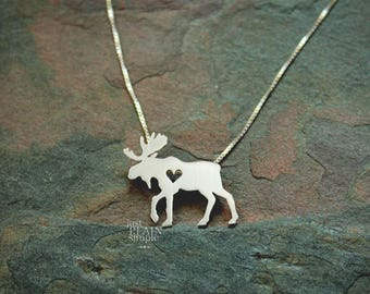 Moose necklace, elk, sterling silver, tiny silver hand cut pendant with heart