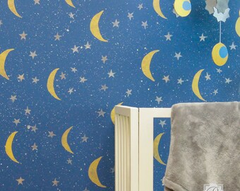 Night Sky Stars & Moon Wall Stencil Pattern - Painting a Modern Wall Mural in Nursery or Boho Chic Bedroom Feature Wall