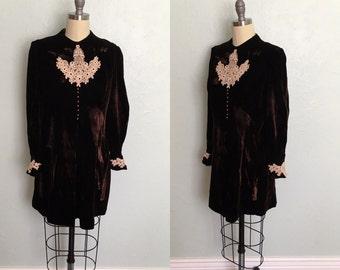 1960's chocolate brown velvet minidress / 1960's vintage dress / 1960's minidress
