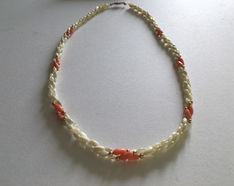 Vintage - Stunning Coral and Shell Bead Necklace - 1970's - Glamour - Antique Jewelry - Twisted Three Strand Necklace