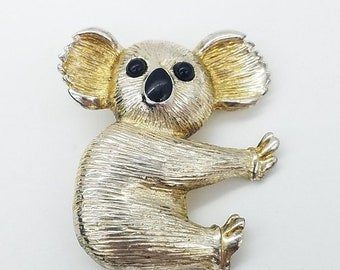 ON SALE Vintage Golden & Black Enamel  Koala Bear Brooch