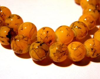 50 glass beads speckled marble - 8 mm - pale orange - glass beads - 1 G256